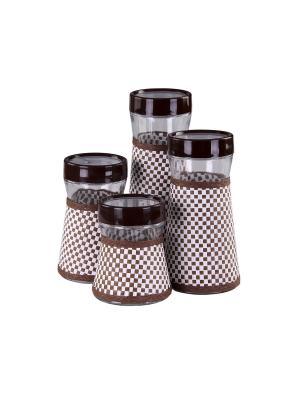 Набор банок для сыпучих продуктов 4 предмета, шт PATRICIA. Цвет: коричневый