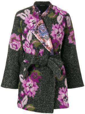 Пальто-накидка с цветочным рисунком Ermanno Gallamini. Цвет: серый