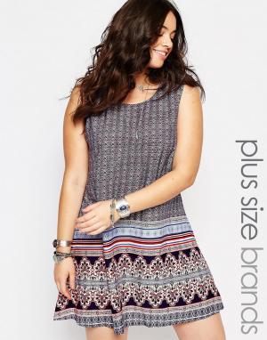 Diya Цельнокройное платье с принтом по краю Plus. Цвет: мульти