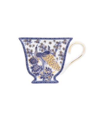 Подставка под чайный пакетик Павлин синий Elan Gallery. Цвет: синий,белый