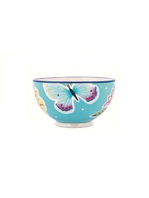 Чаша Летняя лужайка 15,5см Elff Ceramics. Цвет: голубой, сиреневый, белый