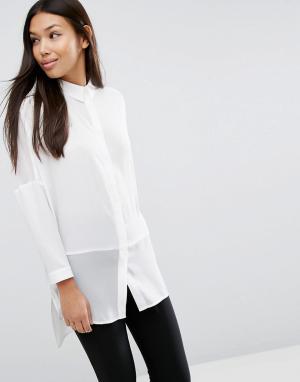 ASOS Мягкая однотонная рубашка с прозрачными вставками. Цвет: белый