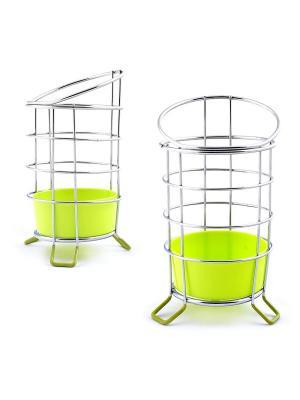 Подставка для столовых приборов с поддоном МультиДом. Цвет: серый, зеленый