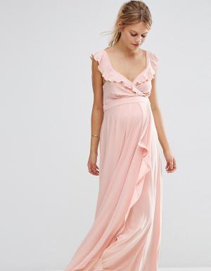 ASOS Maternity Платье макси для беременных с оборками. Цвет: розовый