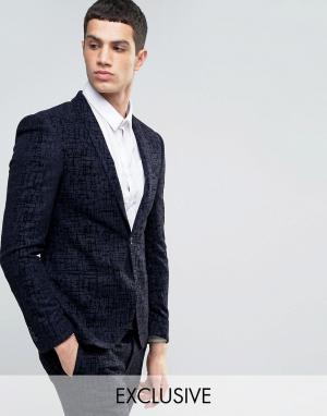 Noak Супероблегающий пиджак с бархатистой отделкой. Цвет: темно-синий
