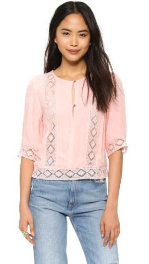 Блуза с кружевными вставками Twelfth St. by Cynthia Vincent. Цвет: персиковый
