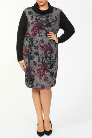 Свободное платье с молнией спереди Maxima. Цвет: черный, серый