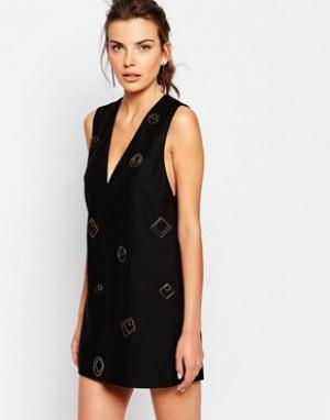 C/meo Collective Цельнокройное платье с металлическими деталями. Цвет: черный