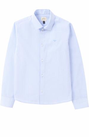 Хлопковая рубашка с логотипом бренда Armani Junior. Цвет: голубой
