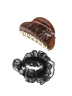 Аксессуары для волос (Заколка-краб, резинка) Migura. Цвет: коричневый, золотистый, белый, черный