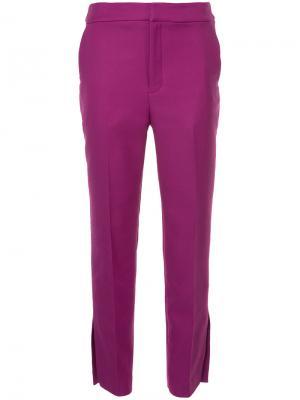 Укороченные прямые брюки Cityshop. Цвет: розовый и фиолетовый