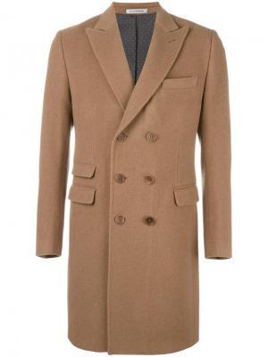 Двубортное пальто Daniele Alessandrini. Цвет: коричневый