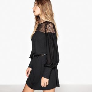 Платье прямое кружевное с присборенными манжетами MADEMOISELLE R. Цвет: черный