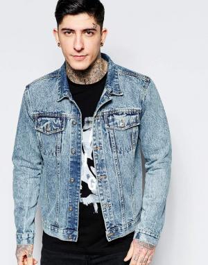 Dead Vintage Мраморная джинсовая куртка. Цвет: синий