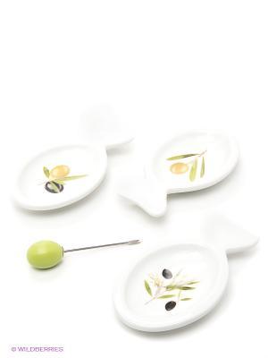 Блюда-рыбки 3шт. LORAINE. Цвет: белый