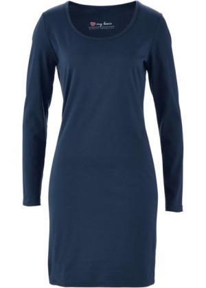 Трикотажное платье стретч с длинным рукавом (темно-синий) bonprix. Цвет: темно-синий