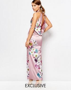 True Violet Атласное платье макси со свободным воротом сзади. Цвет: мульти