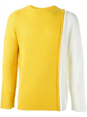 Двухцветный трикотажный джемпер Liam Hodges. Цвет: жёлтый и оранжевый