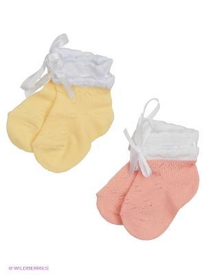 Носки, 2 пары Гамма. Цвет: персиковый, желтый