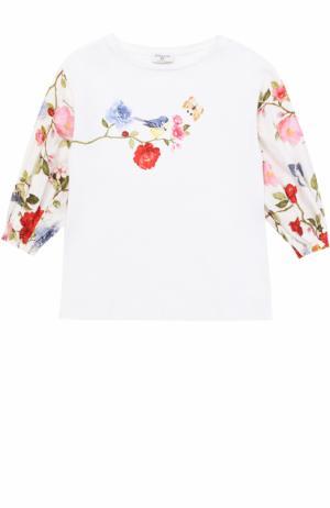 Блуза с принтом и стразами Monnalisa. Цвет: белый