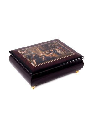 Шкатулка для ювелирных украшений MERCANTE. Цвет: бордовый, золотистый, темно-коричневый