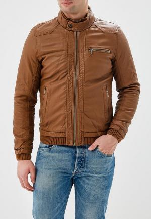 Куртка кожаная Justboy. Цвет: коричневый