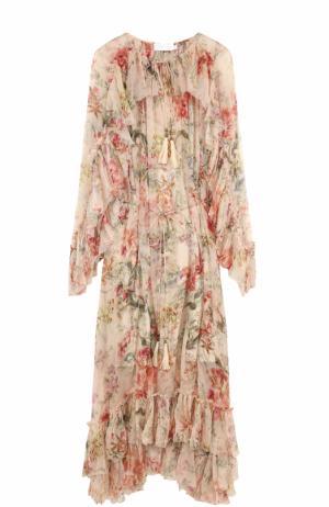 Платье-миди с цветочным принтом и оборками Zimmermann. Цвет: бежевый