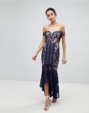 Jarlo Кружевное платье миди с открытыми плечами. Цвет: темно-синий