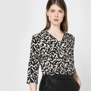Блузка с рисунком Lexie SUNCOO. Цвет: черный наб. рисунок