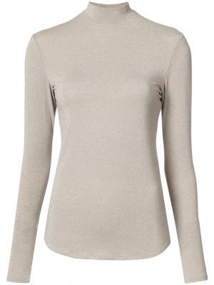 Блузка с высокой горловиной Nomia. Цвет: коричневый