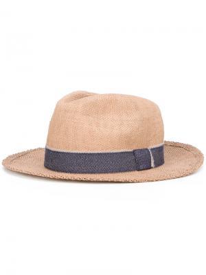 Шляпа с декоративной тесьмой Eleventy. Цвет: телесный