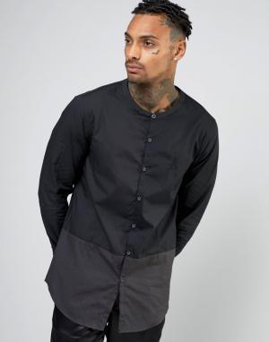 AKA Длинная рубашка с воротником на пуговицах. Цвет: черный