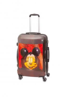 Чемодан на колесах, серия Disney Micky&Dali, 68 л, с телескопической ручкой Sun Voyage. Цвет: темно-коричневый, красный