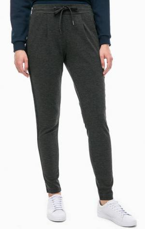 Серые брюки на резинке ICHI. Цвет: серый