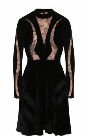 Бархатное платье с кружевными вставками Elie Saab. Цвет: черный