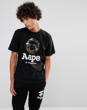 AAPE BY A BATHING APE Черная футболка с крупным логотипом. Цвет: черный