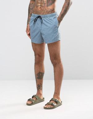 ASOS Короткие синие шорты для плавания с эффектом кислотной стирки. Цвет: синий