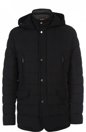 Куртка с капюшоном Moorer. Цвет: черный