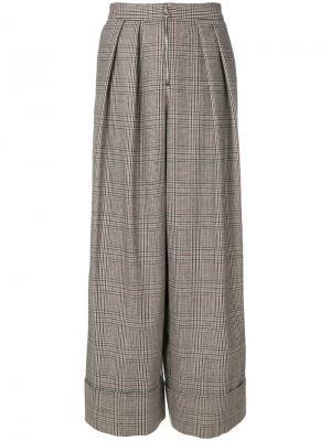 Широкие твидовые брюки Joshua Millard. Цвет: коричневый