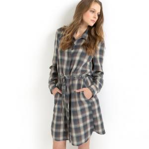 Платье CATIA с клетчатым рисунком, 100% хлопка GAT RIMON. Цвет: серый