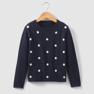 Пуловер жаккардовый с рисунком в горошек 3-12 лет R essentiel. Цвет: синий морской