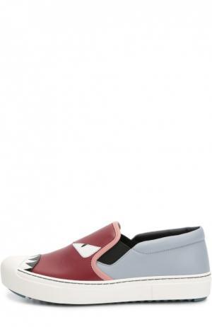 Кожаные слипоны с нашивками Bag Bugs Fendi. Цвет: красный