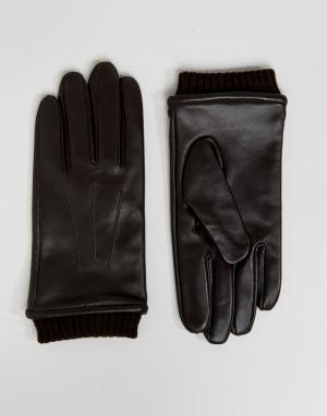 Barney's Originals Коричневые кожаные перчатки с манжетами Barneys. Цвет: коричневый