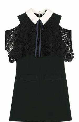 Приталенное мини-платье с открытыми плечами self-portrait. Цвет: темно-зеленый