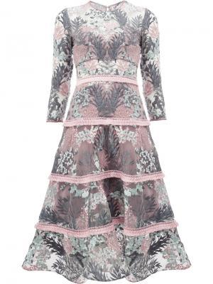 Расклешенное платье с цветочным узором Alexis. Цвет: многоцветный