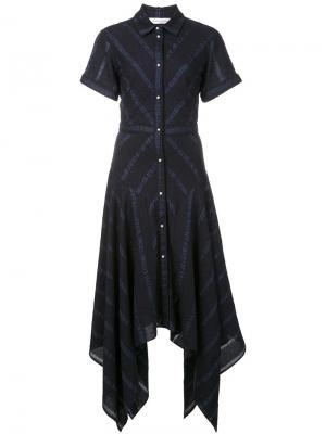 Платье-рубашка с короткими рукавами Prabal Gurung. Цвет: синий