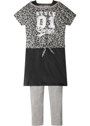 Футболка + платье легинсы (3 изд.) (светло-серый меланж/черный) bonprix. Цвет: светло-серый меланж/черный