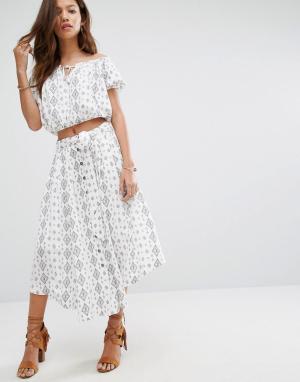 Moon River Комбинируемая юбка с принтом. Цвет: белый