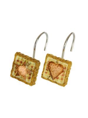 12 крючков для душевой шторки WMSPIV007R Hearts & Stars Walmart  Blonder Home. Цвет: бордовый