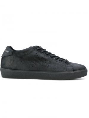 Кроссовки на шнуровке Leather Crown. Цвет: чёрный